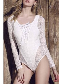 Lace See-Through Long Sleeve Bathing Suit - White