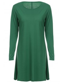 Loose Fitting Round Neck Solid Color Casual Dress - Green L