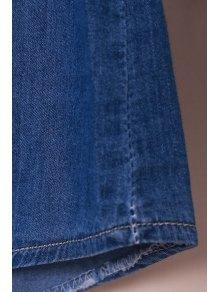 Denim Turn Down Collar Long Sleeves Shirt - BLUE S