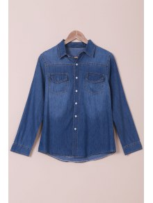 Denim Turn Down Collar Shirt Manches Longues - Bleu