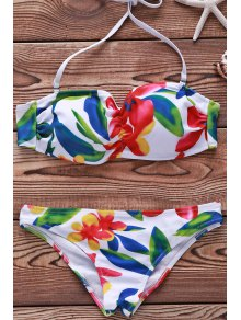 Flower Print Spaghetti Straps Bikini Set For Women - White