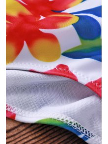 Flower Print Spaghetti Straps Bikini Set For Women