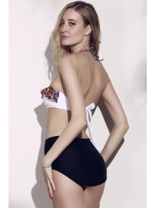 Halterneck Tiny Floral Print Bikini Set - BLACK S