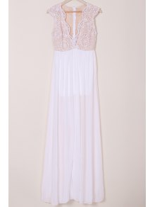 Chiffon Plunging Neck Sleeveless White Maxi Dress - WHITE ONE SIZE(FIT SIZE XS TO M)