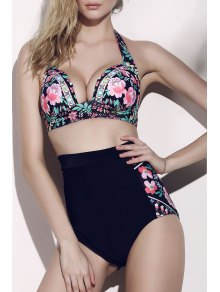 Floral High Waisted Two-Piece Swimsuit - Noir