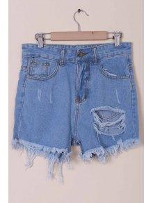 Solid Color Broken Hole High-Waist Denim Shorts - Light Blue