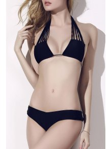 Strappy Halter Plunge Neck Bikini Set