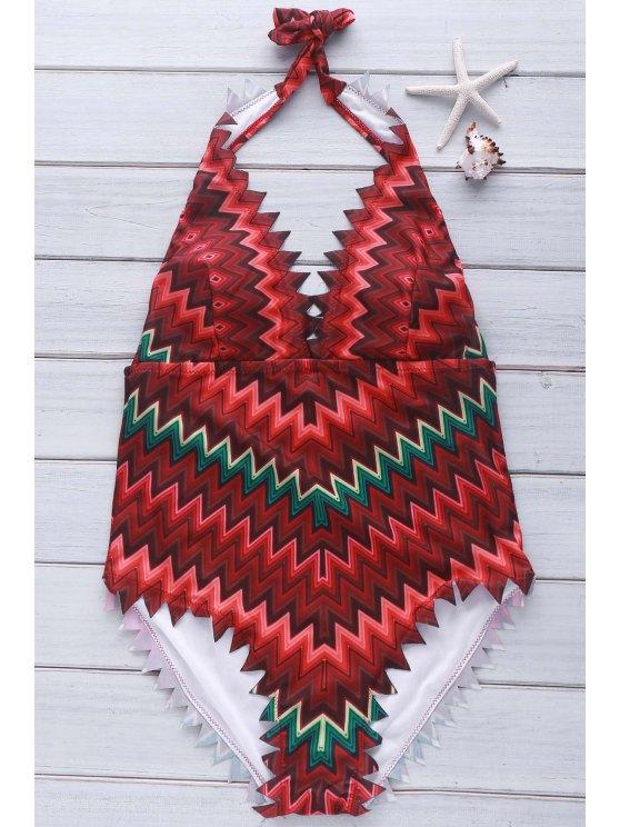 Zig Zag Print Halter One-Piece Swimwear - ORANGE M Mobile