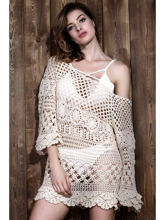 Crochet Cut Out Cover Up - OFF-WHITE ONE SIZE Mobile