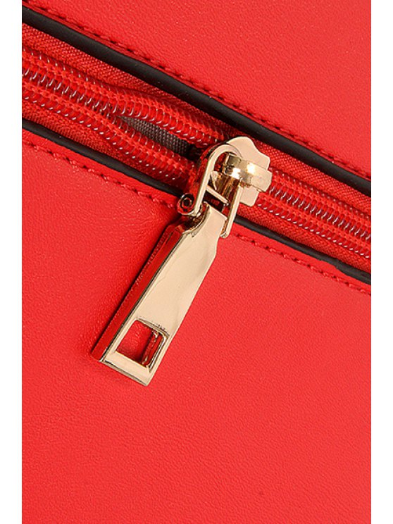Metallic Chains PU Leather Crossbody Bag - OFF-WHITE  Mobile