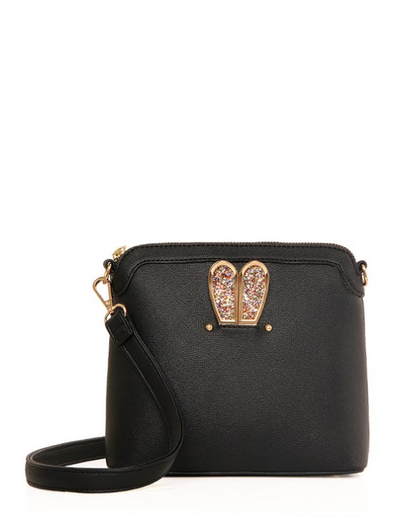 best Sequined Bunny Ear PU Leather Crossbody Bag - BLACK