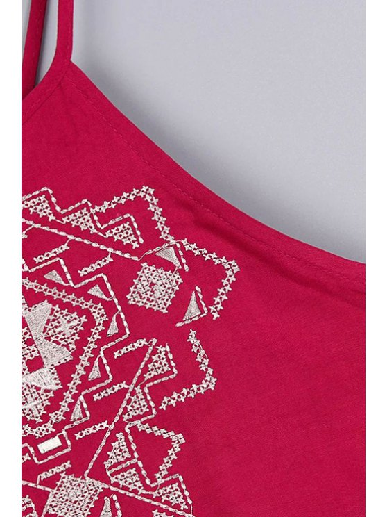 Backless Spaghetti Straps Tank Top and Embroidery Shorts Twinset - RED L Mobile
