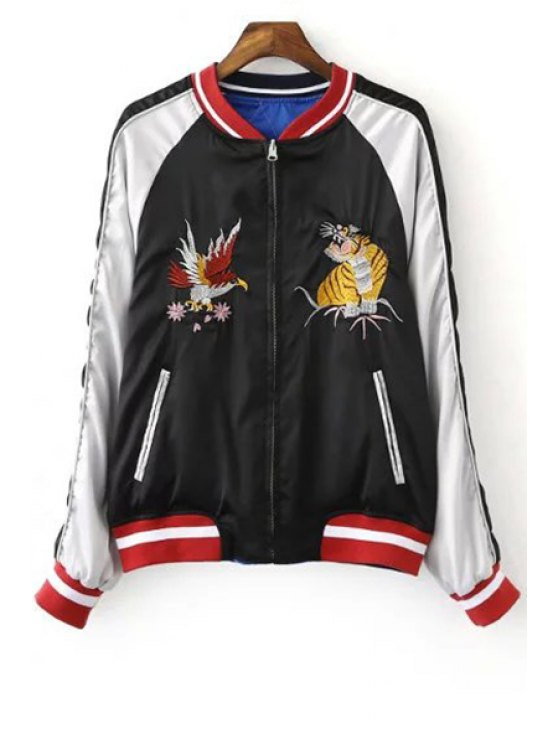 lady Embroidered Reversible Baseball Jacket - BLUE AND BLACK M