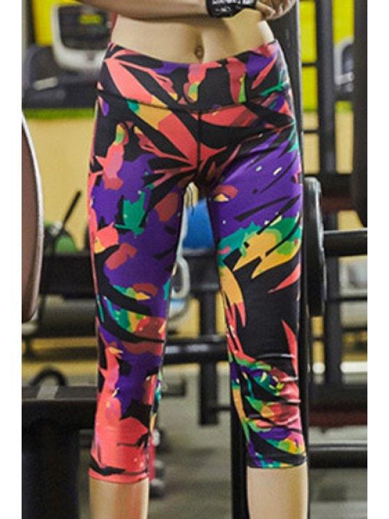 Élégant Super-élastiques colorés imprimé stretch Sport pantalons pour femmes - Multicolore S