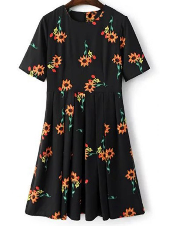 outfits Fitting Sunflower Print Jewel Neck Short Sleeve Dress - BLACK L