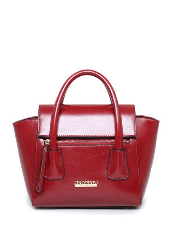 Lettres solide en cuir couleur PU sac fourre-tout - Rouge vineux