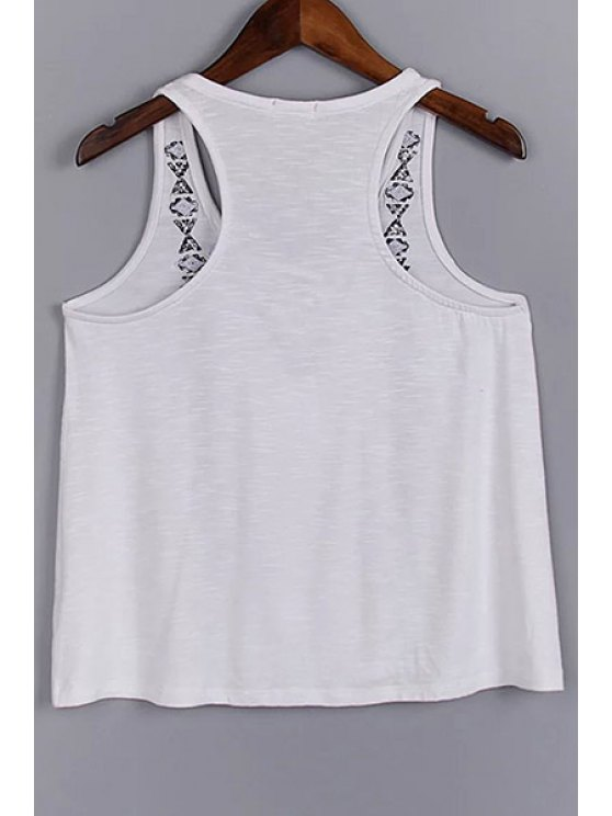 Lace Up V-Neck Embroidery Tank Top - WHITE L Mobile