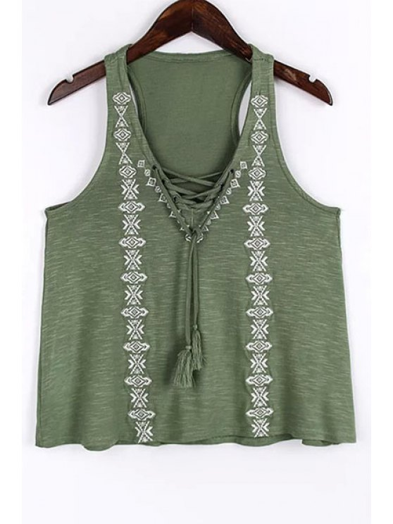 best Lace Up V-Neck Embroidery Tank Top - GREEN L