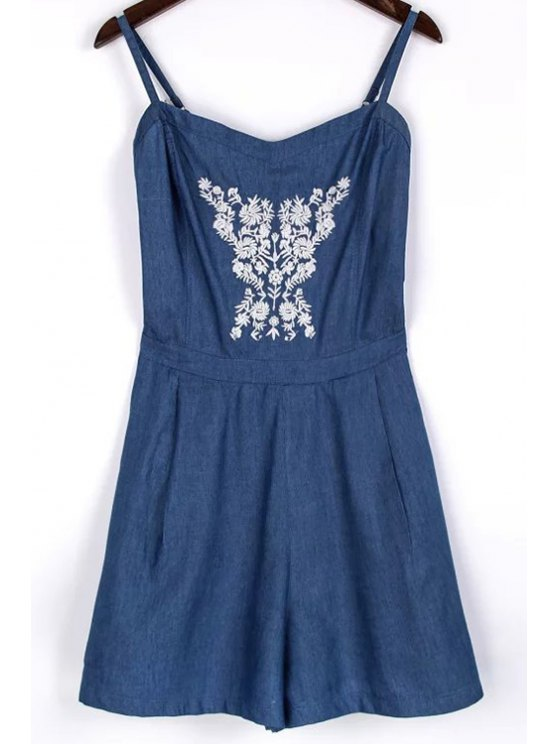 outfits Embroidery Spaghetti Straps Chambray Romper - BLUE M