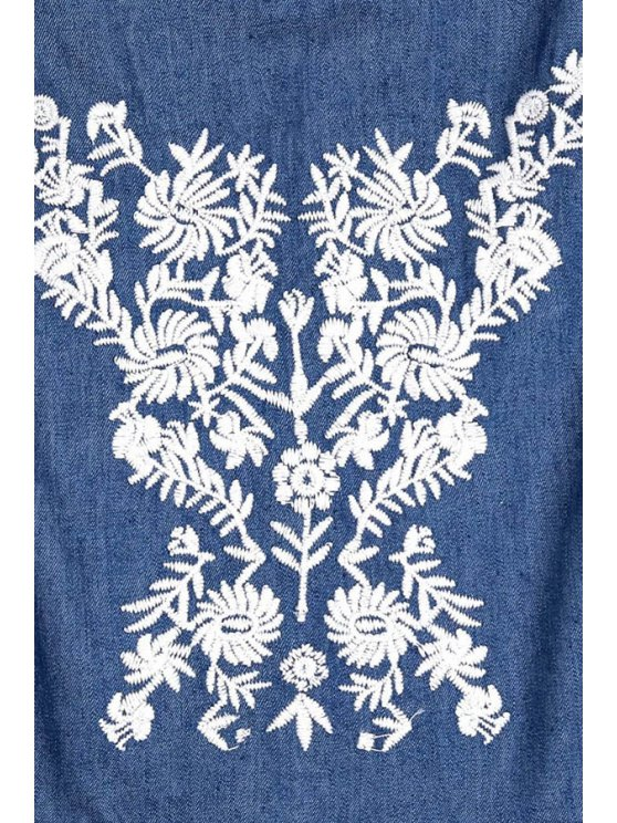Embroidery Spaghetti Straps Chambray Romper - BLUE M Mobile