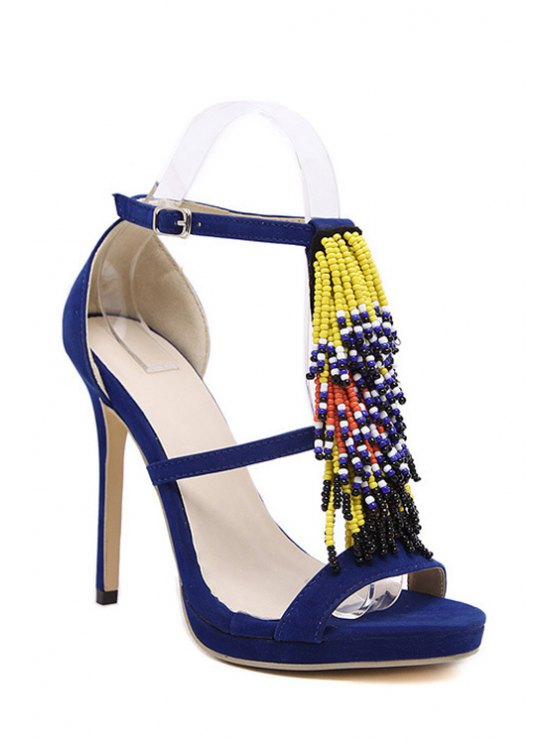 fashion Colorful Beading Stiletto Heel Sandals - BLUE 38