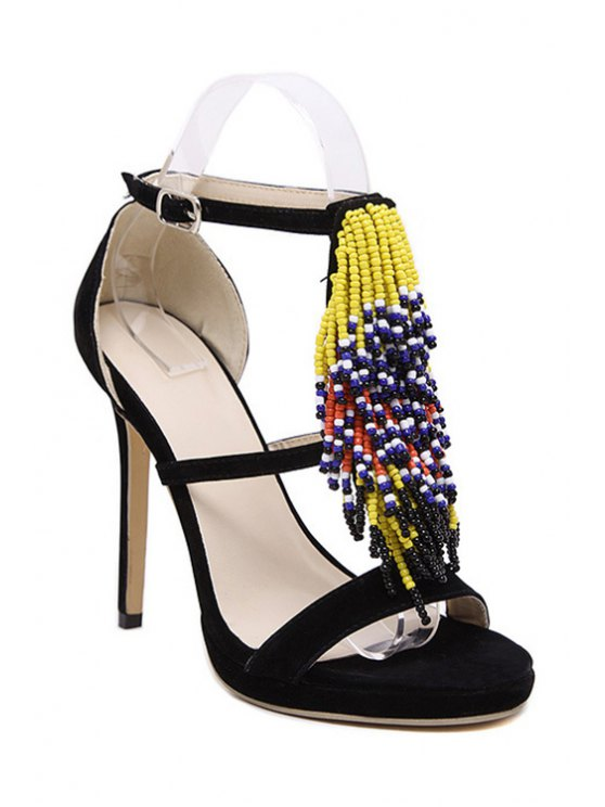 outfits Colorful Beading Stiletto Heel Sandals - BLACK 37