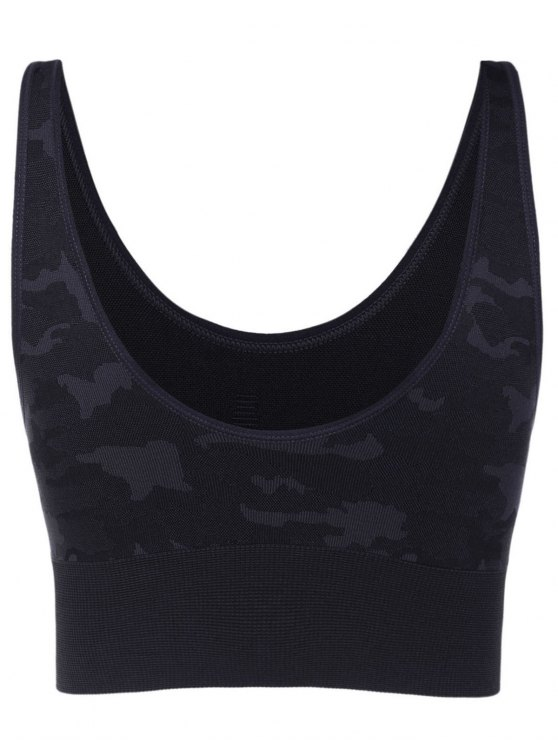 Camouflage Graphic Sport Bra - GRAY S Mobile