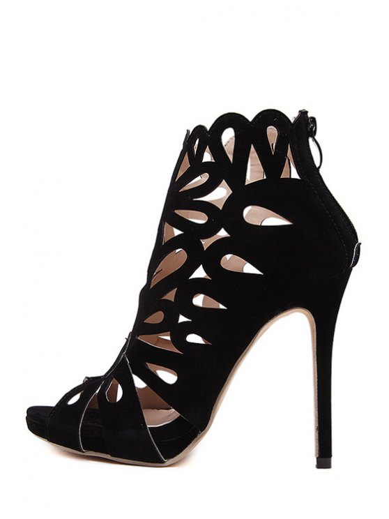 Hollow Out Peep Toe Black Sandals - BLACK 36 Mobile