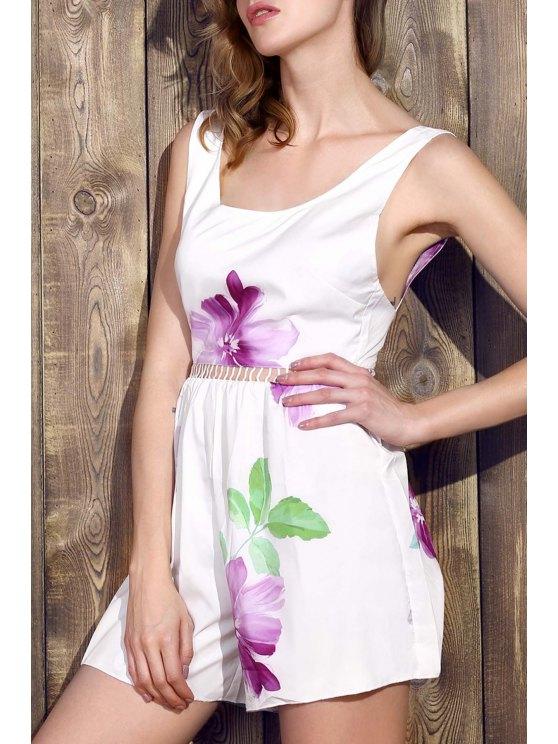 Floral sans manches jambe large Romper - Blanc M