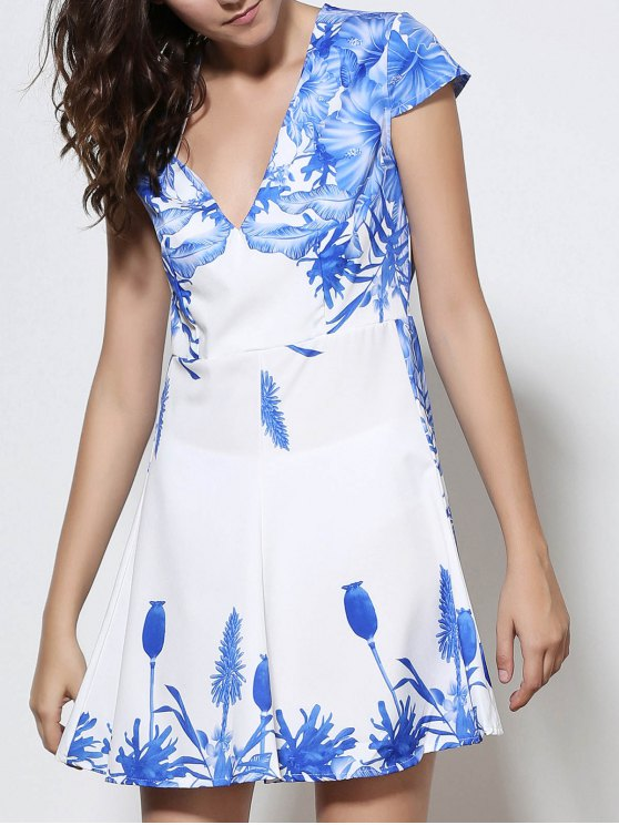 hot Plunging Neck Blue Floral Print Dress - WHITE S