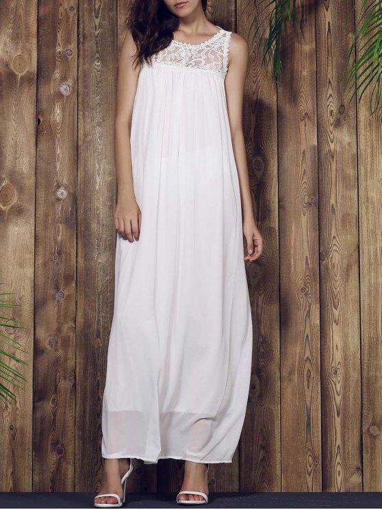 lady Lace Yoke Maxi Chiffon Beach Dress - WHITE XL