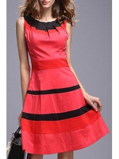 Pleated Neck Color Block Dress - Red S