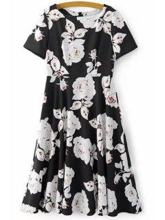 Fitting Rose Print Jewel Neck Short Sleeve Dress - Black L