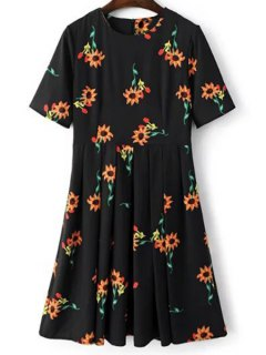 Fitting Sunflower Print Jewel Neck Short Sleeve Dress - Black L