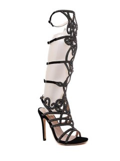 Rhinestone Hollow Out Stiletto Heel Sandals - Black 39