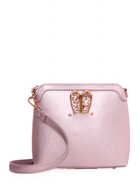 online Sequined Bunny Ear PU Leather Crossbody Bag - PINK  Mobile