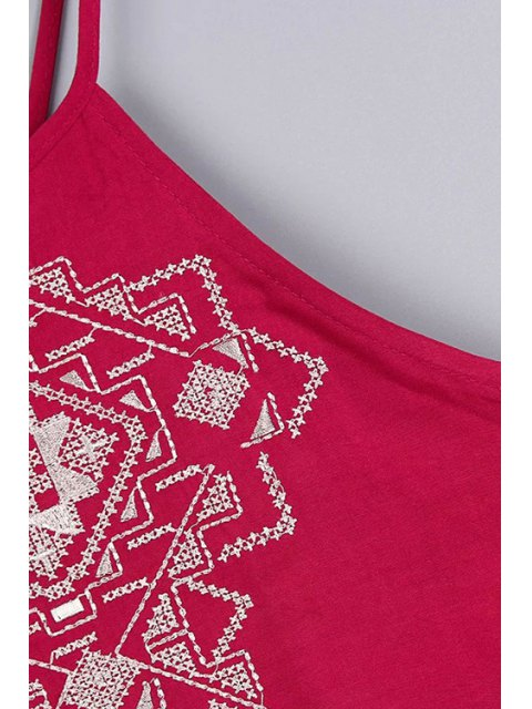 outfit Backless Spaghetti Straps Tank Top and Embroidery Shorts Twinset - RED L Mobile