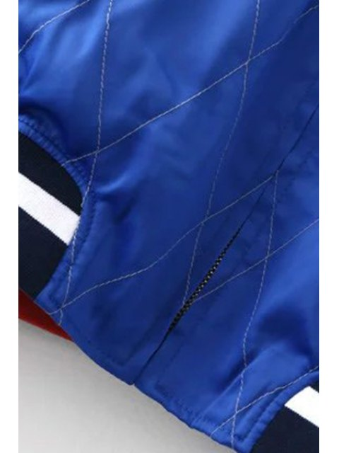lady Embroidered Reversible Baseball Jacket - BLUE AND BLACK M Mobile