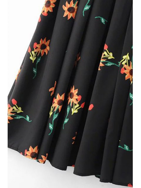 outfits Fitting Sunflower Print Jewel Neck Short Sleeve Dress - BLACK L Mobile