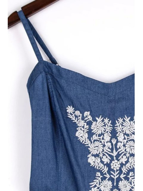 outfits Embroidery Spaghetti Straps Chambray Romper - BLUE M Mobile