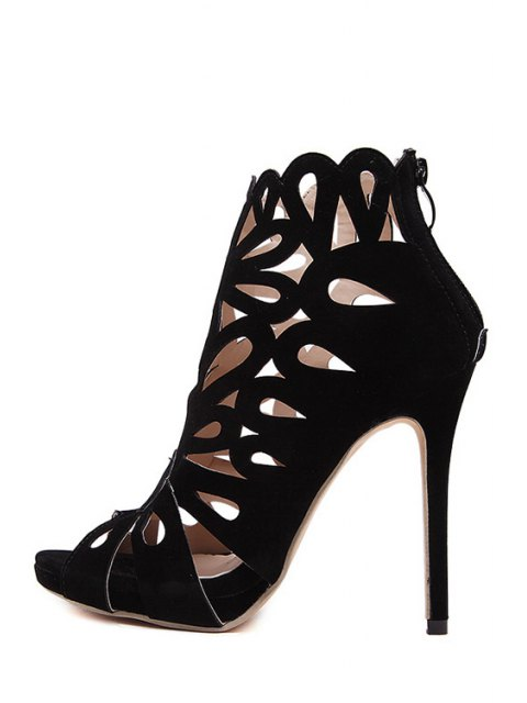 fashion Hollow Out Peep Toe Black Sandals - BLACK 36 Mobile