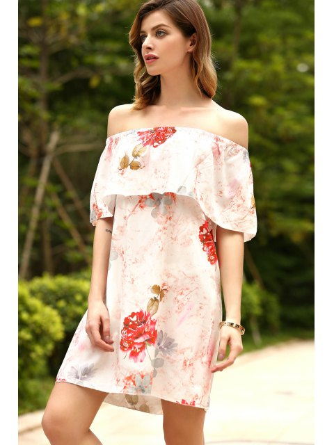 ladies Floral Ruffles Off The Shoulder Dress - RED XL Mobile