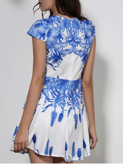 outfit Plunging Neck Blue Floral Print Dress - WHITE M Mobile