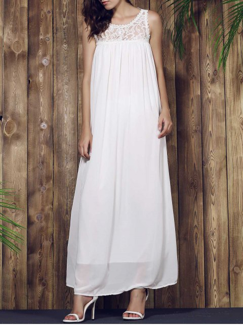 ladies Lace Yoke Maxi Chiffon Beach Dress - WHITE L Mobile