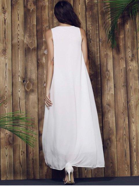 women Lace Yoke Maxi Chiffon Beach Dress - WHITE S Mobile