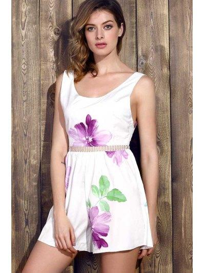 Floral Sleeveless Wide Leg Romper - WHITE M Mobile
