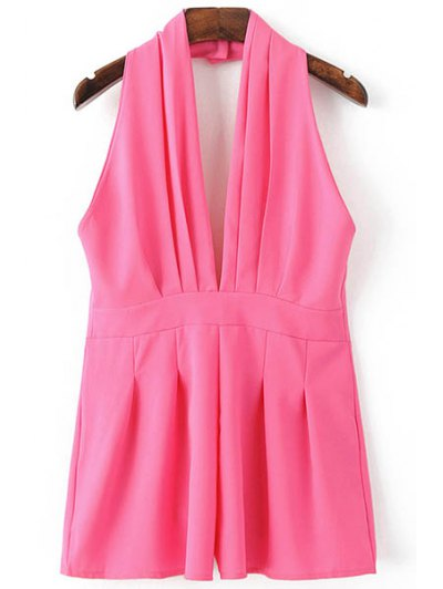 Backless Solid Color Plunging Neck Sleeveless Romper - ROSE S Mobile