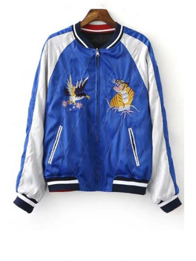 Embroidered Reversible Baseball Jacket - BLUE AND BLACK M Mobile