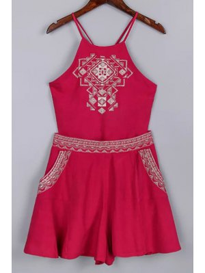 Backless Spaghetti Straps Tank Top And Embroidery Shorts Twinset - Red