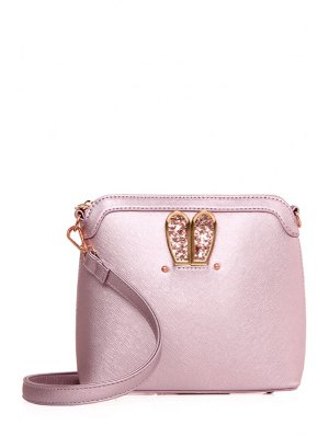 Sequined Bunny Ear PU Leather Crossbody Bag - Pink